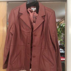 Salmon 100% leather jacket